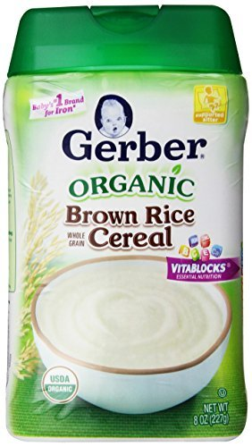 Gerber Baby Cereal, Organic Brown Rice, 8 Ounce (Pack Of 6) Flavorname: Organic Brown Rice Size: 8 Ounce (Pack Of 6) Newborn, Kid, Child, Childern, Infant, Baby