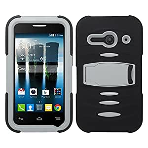 Zizo Alcatel One Touch Evolve 2 4037T Rugged Case with Screen Installed and Kickstand - Retail Packaging - Black/Gray