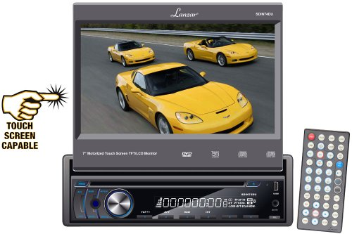 Lanzar SDIN74DU 7-Inch Motorized Touch Screen TFT/LCD Monitor with DVD/CD/MP3/MP4/AM/FM Player