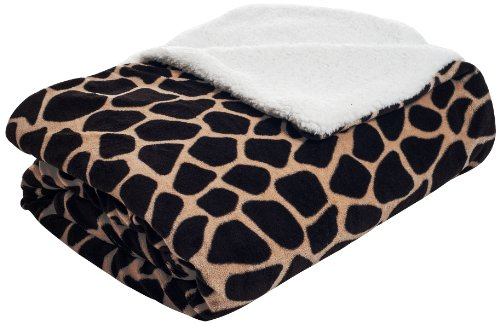 Lavish Home Fleece Blanket With Sherpa Backing, Full/Queen, Giraffe front-1008581