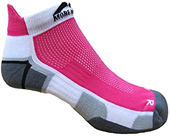 'New Style' Womens More Mile cushioned MIAMI running socklet White/Pink MM1704