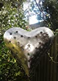 Shabby Chic Lrg Star Design Metal Heart Hanging Garden Tealight Holder By RJB Stone (Sass Belle)