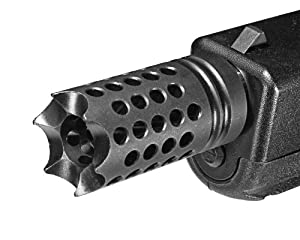 "Ultimate Arms Gear Tactical Pistol Muzzle Brake USA Made Black Mil Spec Phosphate Coated Compact Competition 6 Razor Sharp Tines Device With 9/16""x24 TPI Thread Pattern 40 Cal 10mm Glock 20 22 23 24 27 35 .400 Bore & Smaller"