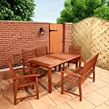 BillyOh Classic Melaine 1.5m 6 Seater Wooden Bench 2 Benches and 2 Armchairs