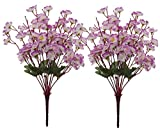 Fourwalls Artificial Peach Blossom Flower Bunch (37 cm, Purple, Set of 2, 9 Branches)