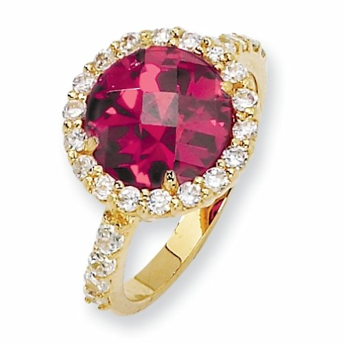 Gold-plated Sterling Silver Checker-cut Synthetic Ruby & Cubic Zirconia Ring (Size 7)