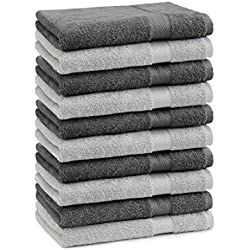 Betz 10er Pack Gästehandtücher Set Gästetuch 100% Baumwolle Größe 30x50 cm Handtuch Premium Farbe Silber Grau & Anthrazit Grau
