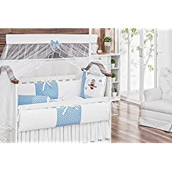 Aviator Bear Themed Blue Baby Boy 10 Pcs Nursery Crib Bedding Set Embroidered