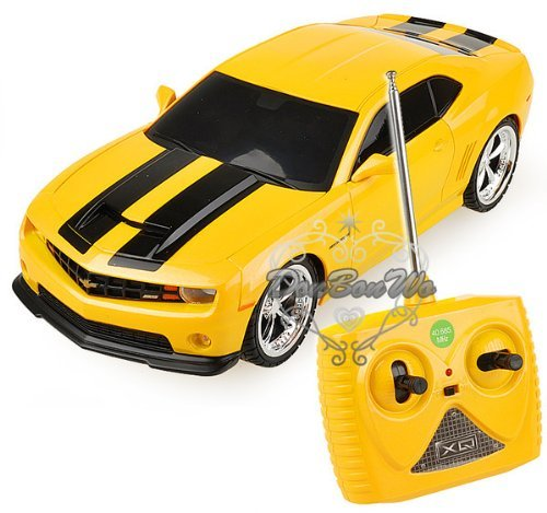 Speed Around In Your New 2011 Camaro! - 1/18 Scale 2011 Chevrolet Camaro RS SS Yellow w/ Black Stripes Radio Remote Control Car RC