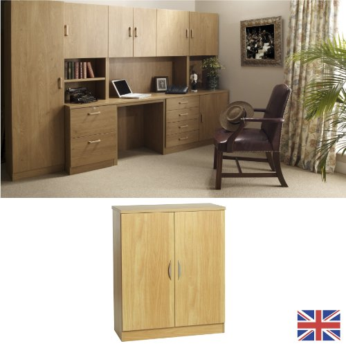 Home Office Furniture - Fully Assembled - Cupboard - English Oak - Twin Doors - Wood Handles - Wood Effect... FOR USE IN: study bedroom lounge conservatory WE ALSO MAKE: cupboard plan chest hideaway desk draw drawers table free standing computer unit skir
