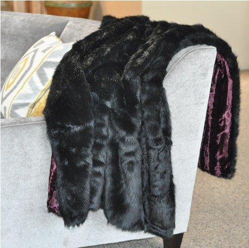 buy cheap thick black bear faux fur throw blanket with burgandy velvet velour backing on sale. Black Bedroom Furniture Sets. Home Design Ideas