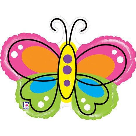 "Large Butterfly Balloon - Mighty Beautiful Butterfly Shape 28"" Mylar Foil Balloon"
