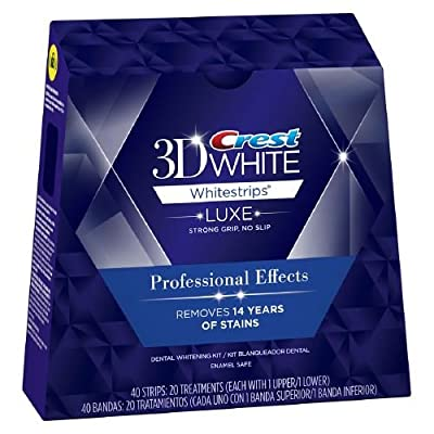 Crest 3D White Luxe Professional Effects Whitestrips Teeth Whitening Kit, 20 Count (Pack of 1)