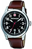 Wenger Terragraph Men's Quartz Watch with Black Dial Analogue Display and Brown Leather Strap 010541102