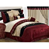 Chezmoi Collection 7-Piece Embroidery Tree Branch with Leaf Comforter Set for Queen Size Bedding