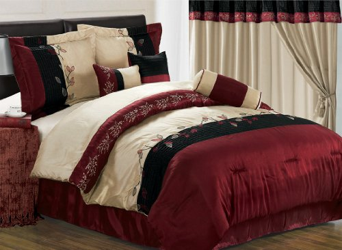 King Size Bedding-7 Pieces Burgundy Embroidery Tree Branch with Leaf Comforter Set Bed-in-a-bag