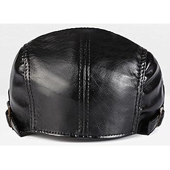 ALLMILL Men PU Leather Duckbill Cap Vintage Ivy Newsboy Cap Flat Cap Cabby Hat