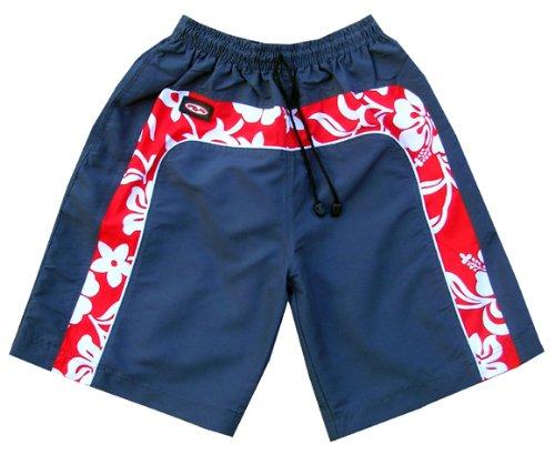 Zip Zap Zooom Mens Red Surf Flower Swim Board Sport Swimming Shorts