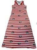 Walt Disney's Mickey Mouse Striped Maxi Dress Red