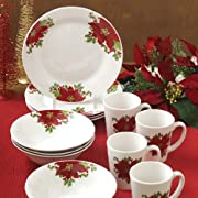 THE Christmas Boutique Royal Poinsettias Christmas Holidays 12 Piece Dinnerware