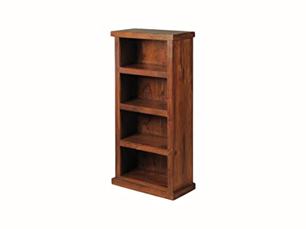 Libreria in legno di Sheesham palissandro indiano salvaspazio – Thakat libreria bassa – Finitura: Mid Brown Sheesham – salotto/Home Office Furniture