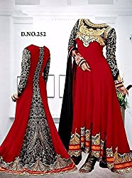 Shree Fashion Woman's Georgette With Dupatta [Shree (89) Red_Red]