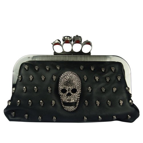 Feishanglige Women Evening Clutch Bag with Black Satin Skull Ring Knuckle Duster Four Rings Party Night Club Bag F022200037