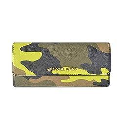 MICHAEL Michael Kors Jet Set Travel Camouflage Saffiano Leather Wallet Acid Lemon