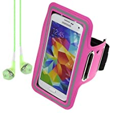 buy Active Sports Armband For Samsung Galaxy S5 S 5 Sv / Htc One M8 - Rose + Vangoddy Headphone With Mic , Green