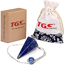 TGS Gems® Natural Lapis Lazuli Crystal Pendulum 12 Facet Reiki Charged Energy Healing Free Pouch