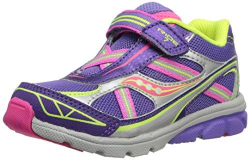 Saucony Girls Baby Ride 7 Running Shoe ,Purple/Silver,8.5 M