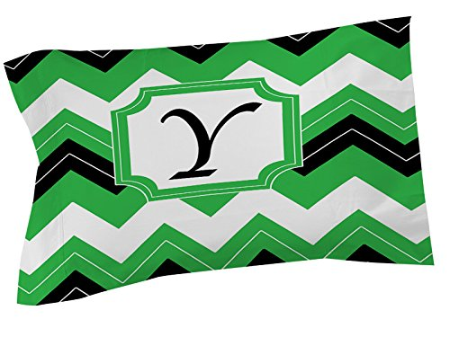 Thumbprintz Pillow Sham, Standard, Monogrammed Letter Y, Black Chevron front-454453