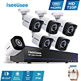 Iseeusee 6-Channel HD-TVI 720P 1080N Video Security DVR Surveillance Camera Kit 4x1500TVL Indoor Outdoor Weatherproof Bullet Cameras 100feet Night Vision with IR Cut Support Smartphone Remote Access