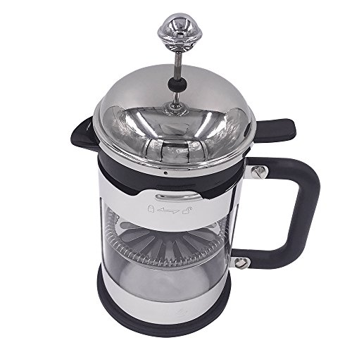 Ivykin Clear Glass Coffee & Tea Maker French Press Stainless Steel Outer Shell in Chrome 600ml 20 oz 5 cups