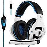 SADES SA810 Wired Over Ear Stereo Gaming Headset with Noise Isolation Microphone for NewXboxOne/PC/MAC/ PS4/ Phones/Tablet in Black White (Color: SA810 White Blue)