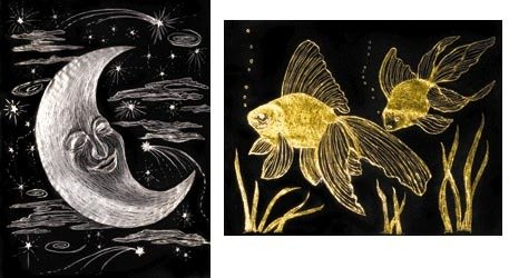 Scratch Art Paper - Gold & Silver Foil (50 sheets) SKU-PAS1124189