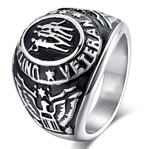 Men's US Military Veteran Marines Air Force Coast Guard Officers Stainless Steel Ring Silver (10mm Stainless Steel Split Ring compare prices)