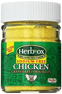 Herbox Granular Sodium Free Chicken Bouillon, 3.3-Ounce (Pack of 6)