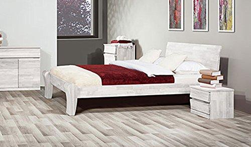 Einzel-/Doppelbett 'Lazy' – in Buche und Eiche (Buche Weiß lasiert, 140 x 200) günstig online kaufen