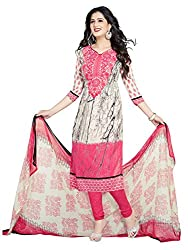 PShopee Pink Synthetic Printed Unstitched Suit Dress Material