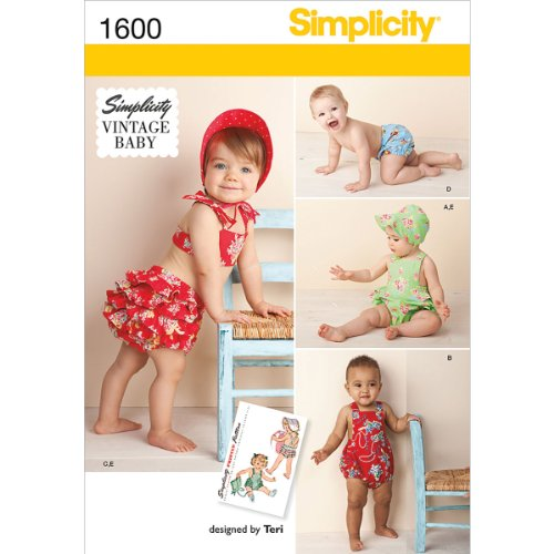 Simplicity Creative Patterns 1600 Babies' Vintage Romper Set, A (XX-Small-X-Small-Small-Medium-Large)