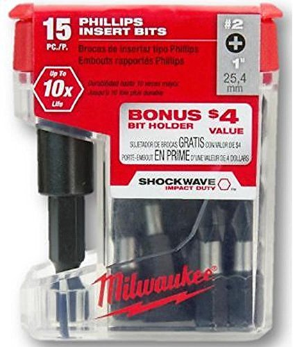 Power Tools Milwaukee 48-32-5003 1-in Phillips #2 Shockwave Insert Bit, 15-Pack (1 4 Die Grinder Sander compare prices)