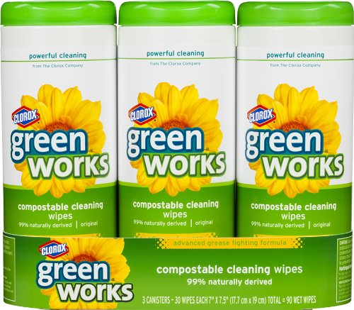 Greenworks Value Pack Compostable Cleaning 30 Wipes Cannister,  3-Count