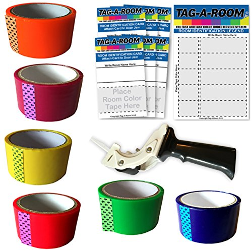 Tag A Room Move By Color Packing Moving Tape With Tape Gun Dispenser Bundle Kit 1 Moving Supplies