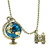 Retro Pendant Globe Telescope Style Chain Charm Ornate Coat Sweater Vintage Necklace