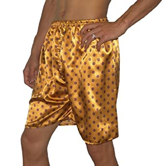 SILK COUTURE: Mens Sleepwear - Silk Boxer Shorts / Pajama Lounge Shorts (Size: M-L )