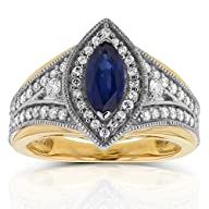 Art Deco Marquise Blue Sapphire and D…