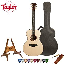 Taylor Guitars Custom Grand Concert Guitar with Deluxe Brown Taylor Hardshell Case and Taylor Pick, Strap and Stand Bundle