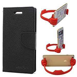 Aart Fancy Wallet Dairy Jeans Flip Case Cover for Blackberry9300 (Black) + Flexible Portable Mount Cradle Thumb OK Designed Stand Holder By Aart Store.