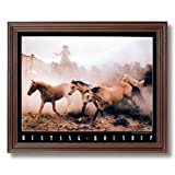 Wild Mustang Horse Roundup Western Cowboy Home Decor Wall Picture Cherry Framed Art Print